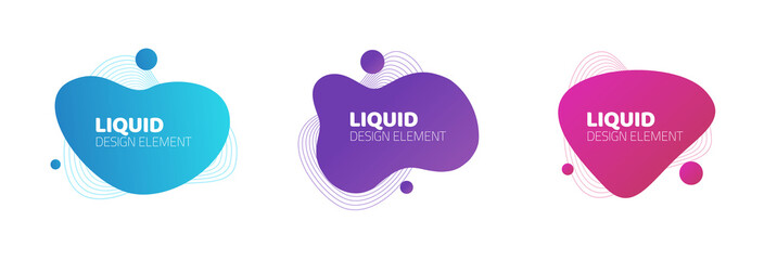 Fluid or liquid graphic graphic element design vector background for flyer or presentation template, gradient abstract geometric shapes for trendy text, wavy splash and curvy backdrop clipart Fototapete
