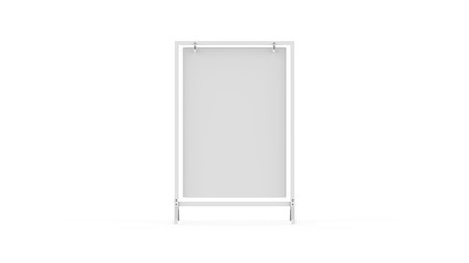 Swinger sign frame, double sided blank white board for mock up template and branding presentation, 3d illustration