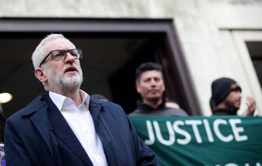 Britain's opposition Labour Party leader Jeremy Corbyn speaks outside University of London, in London