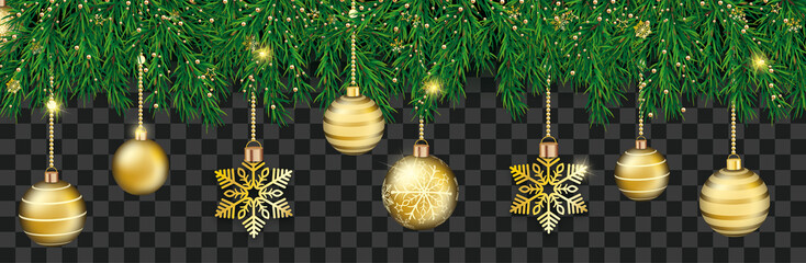 Green Christmas Branches Golden Baubles Snowflakes Banner Transparent