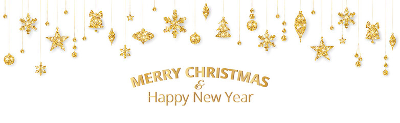 Wall Mural - Merry Christmas banner with gold decoration on white background