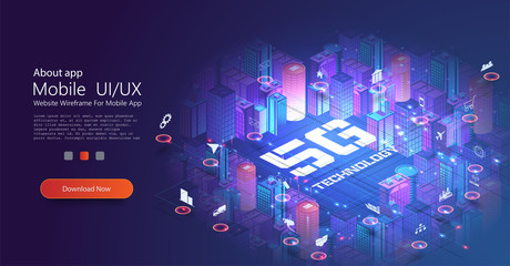 5G network technology, isometric concept. Smart city, tall buildings with 5G symbol wireless internet. Wireless technology isometric composition with city block tall buildings images round icons.