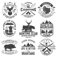 Set of hunting club and outdoor adventure quotes. Vector. Concept for shirt, logo, print, stamp. Vintage design with marshmallow, turkey, bear, deer, tent and forest silhouette