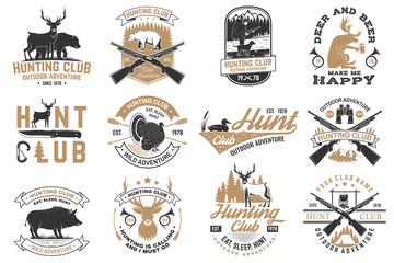 Set of Hunting club badge. Vector Concept for shirt, print, stamp. Vintage typography design with hunting gun, boar, hunter, bear, deer, mountains and forest. Outdoor adventure hunt club emblem Wall mural