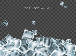 Cubes of ice with the effect of transparency. Highly realistic illustration.