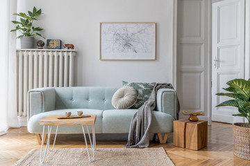 Modern scandinavian living room interior with stylish mint sofa, furnitures, mock up poster map,...
