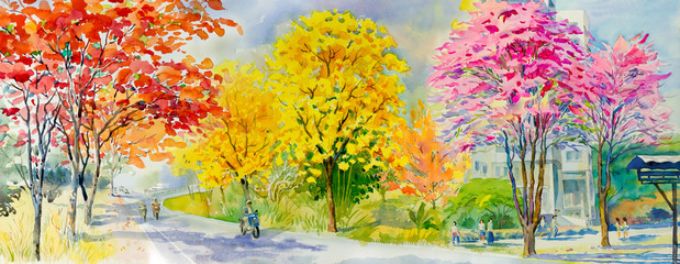 Poster Orange Painting red pink yellow flower tree roadside with traveling spring.