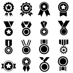 medal icon vector set. certificate illustration sign collection. achievement symbol. award logo.