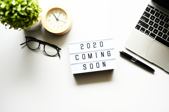 2020 coming soon Business Concept,Top view