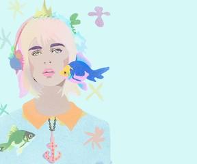 Foto op Plexiglas Beauty Woman with fish underwater