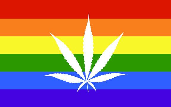 cannabis leaf vector isolated on rainbow flag background