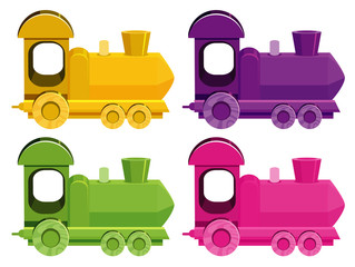 Set of four pictures of trains in different colors