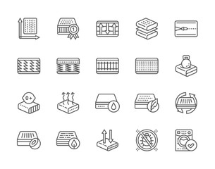 Set of Orthopedic Mattress Line Icons. Elastic Material, Anti Allergic, Zipper