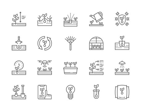 Set of Planting Line Icons. Weed Control, Rake, Greenhouse, Agriculture and more