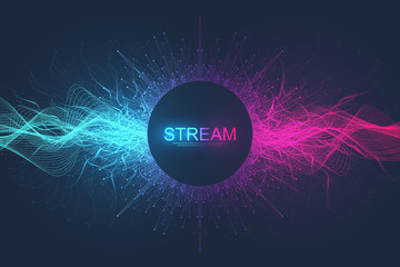 Abstract dynamic motion lines and dots background with colorful particles. Digital streaming background, wave flow. Plexus stream background. Big Data technology, vector illustration