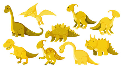 Large set of different types of dinosaurs