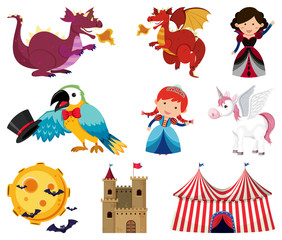 Fairytale characters on white background