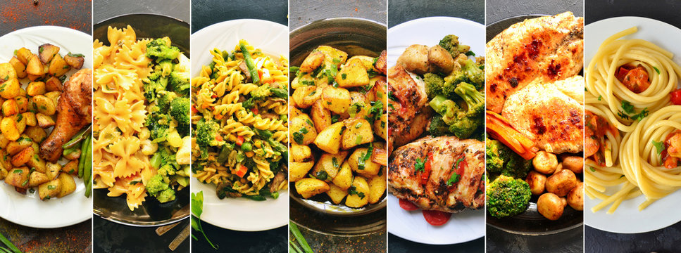 Collage of food in the dishes. A variety of food, vegetables, chicken, close-up and top view. Options for dishes.