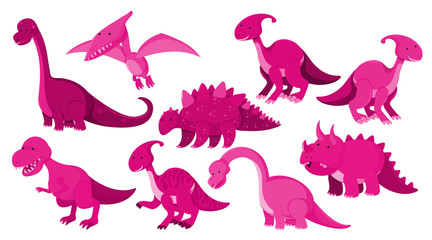 Large set of different types of dinosaurs in pink