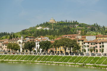 Hilltop church & sanctuary above Adige river in city of Verona, Italy