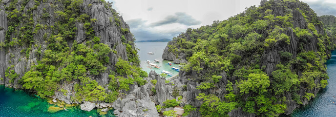 Aerial view of Barracuda Lake on paradise island, Coron, Palawan, Philippines - tropical travel destination