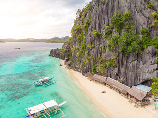 Aerial view of Banol Beach on paradise island, Coron, Palawan, Philippines - tropical travel destination