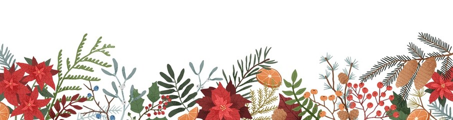 Winter season botanical flat vector illustration. Leaves and branches of poinsettia, mistletoe, spruce and conifer cones composition on white background. Festive christmas backdrop.