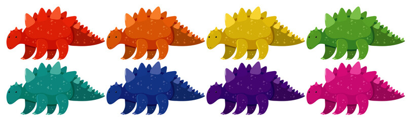 Set of stegosaurus in eight different colors