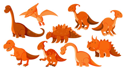 Large set of different types of dinosaurs in orange Wall mural