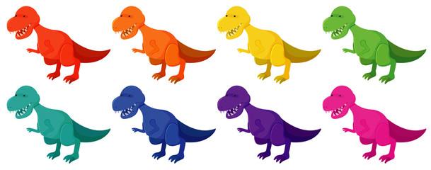 Set of tyrannosaurus rex in eight colors