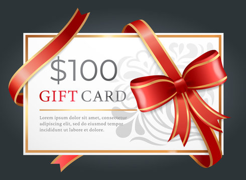 One hundred dollars gift card on black background. Template of paper discount with text tied with ribbon and bow. Present certificate on 100 bucks for purchase. Vector illustration in flat style