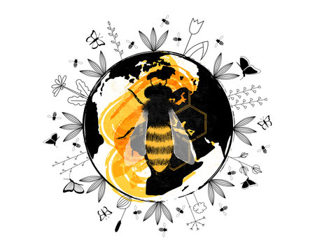 Planet Earth with flowers, butterflies and bees around and big honey bee in the centre.