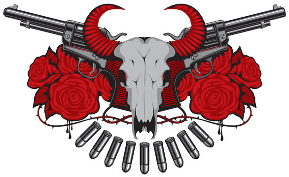 Vector banner or emblem with skull of bull, two old revolvers, bullets and red roses with blood drips. Banner on the theme of death, firearms and pistols. Template for clothing, t-shirt design, tattoo