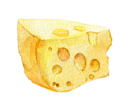 Piece of cheese, isolated on white background, watercolor illustration