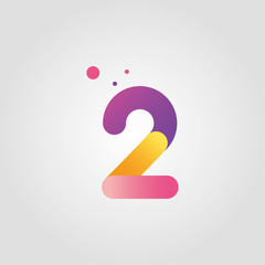 Fototapeta Vector number two logo design template with gradient color obraz
