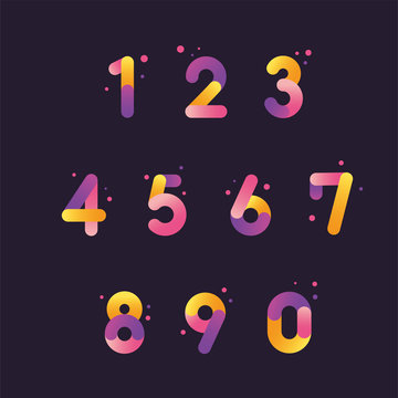 Vector numbers set with gradient color, From zero to nine