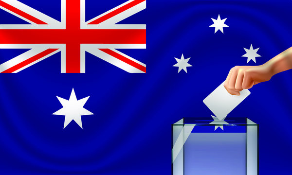 Vote for Australia election with voting box and Australian flag. Vector Illustration.