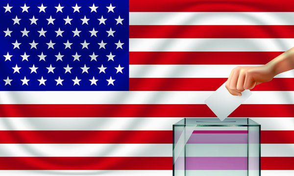Vote for USA election with voting box and United States flag. Vector Illustration.