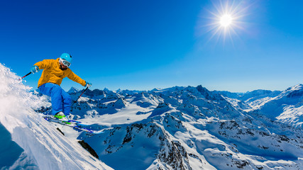 Wall Mural - Skiing with amazing view of swiss famous mountains in beautiful winter snow  Mt Fort. The matterhorn and the Dent d'Herens. In the foreground the Grand Desert glacier.