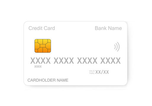 White bank credit card template or mock up on white background. Plastic credit card.