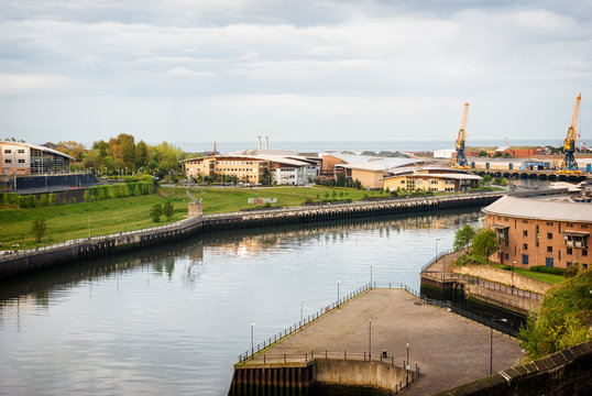 River Wear at Sunderland looking toward university campuses