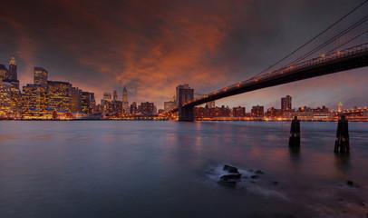 Sunset sky above the city of New York, USA