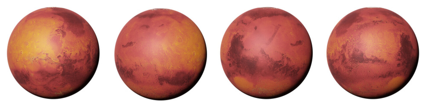 planet Mars, the red planet from all sides isolated on white background