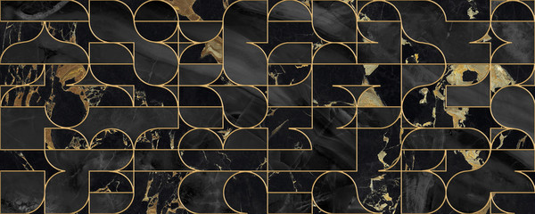Seamless pattern design with golden geometric lines, black marble surface, modern luxurious background