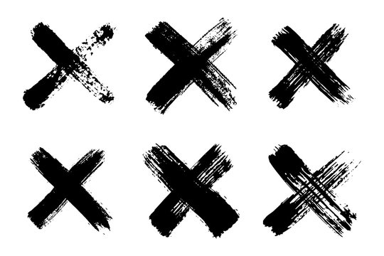 Hand drawn set of cross brush strokes.X black stripes collection. Cross sign graphic symbol. Vector illustration
