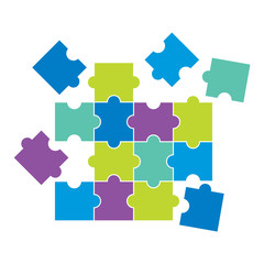 Blue violet and green puzzles