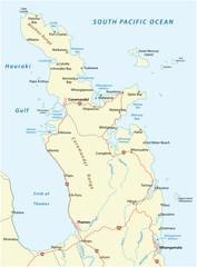 Foto auf Leinwand Licht blau Road map of New Zealand coromandel peninsula
