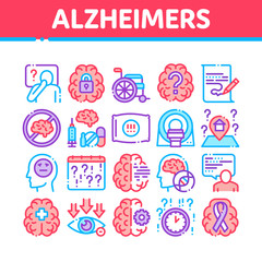 Alzheimers Disease Collection Icons Set Vector Thin Line. Brain And Drugs, Wheelchair And Man Silhouette With Alzheimers Illness Concept Linear Pictograms. Color Contour Illustrations