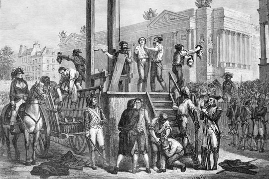 Execution by guillotine of Maximilien Robespierre (born 1758, died 1794), and Louis Antoine de Saint-Just (born 1767, died 1794). French polticians during the French revolution. Antique illustration.