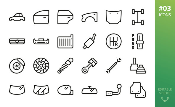 Car parts icons set. Set of car body, car door, fender, hood, grille, brake disk, piston, mats, windshield, wipers, side mirror, cv joint, shock absorber, drive shaft vector outline icons